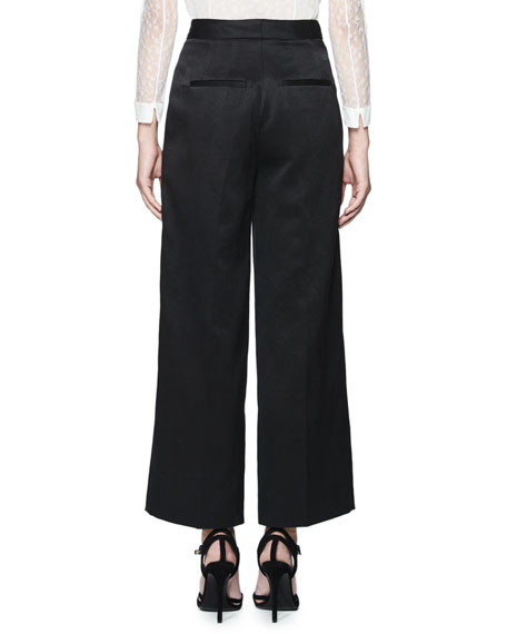 Tosca Cropped Wide-Leg Trousers, Black