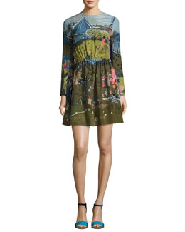 Garden of Delight Long-Sleeve Dress, Multi