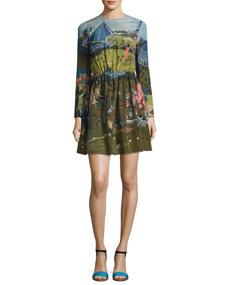 Garden of Delight Long-Sleeve Dress, Multi