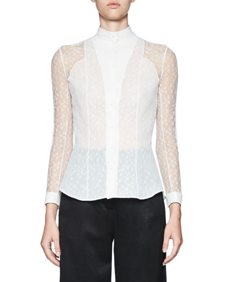 Tentel Lace Button-Front Blouse, White