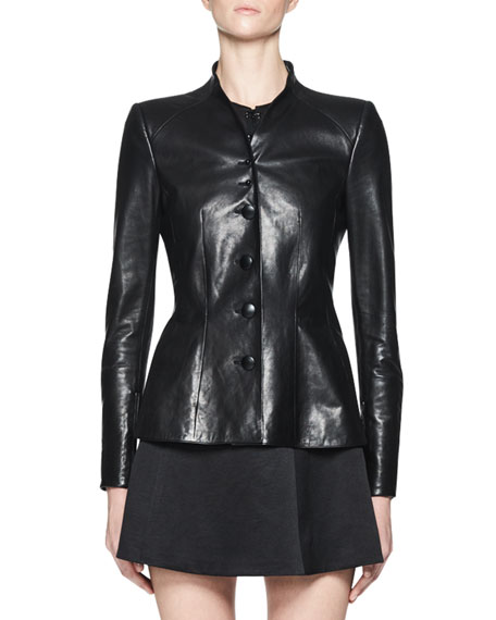 Nator Leather Button-Front Jacket, Black