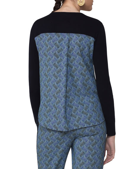 Knit Pullover w/Abstract-Print Back, Navy