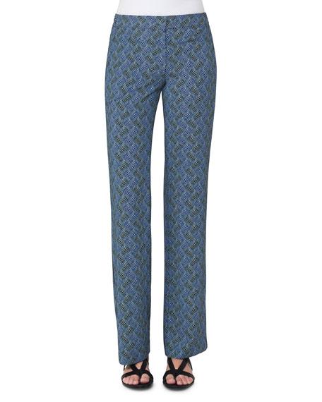 Marla Abstract-Print Pants, Blue Pattern