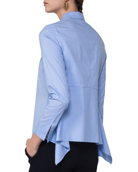 Dot-Print Shirting Blouse w/Back Tail, Light Blue