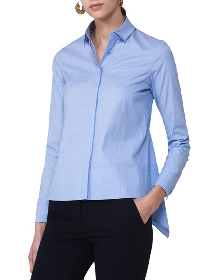Dot-Print Shirting Blouse w/Back Tail, Light Blue