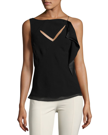 Asymmetric Cutout Sleeveless Top, Black