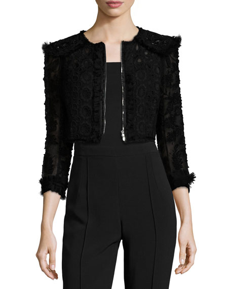Cropped Zip-Front Lace Bolero, Black