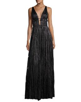 Classic Marilyn Pleated Metallic Silk Gown, Black