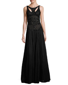 Leaf & Lattice Embroidered Silk Gown, Black Pattern