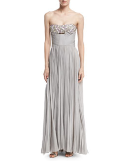 Strapless Beaded Bandeau Plisse Gown, Gray