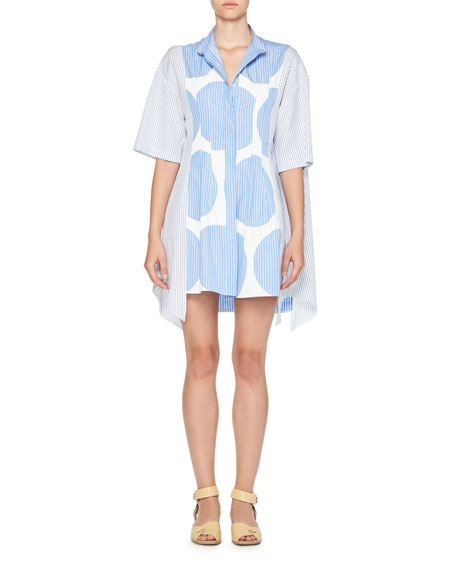 Striped Polka-Dot Shirtdress, Blue/White