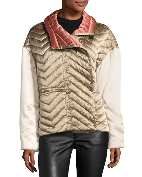 Quilted Silk Bomber Jacket, Beige
