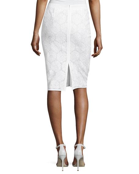Cotton Eyelet Pencil Skirt, White