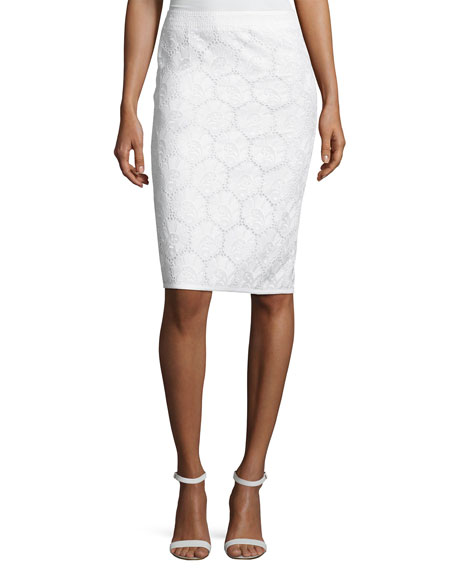 Cotton Eyelet Pencil Skirt, White