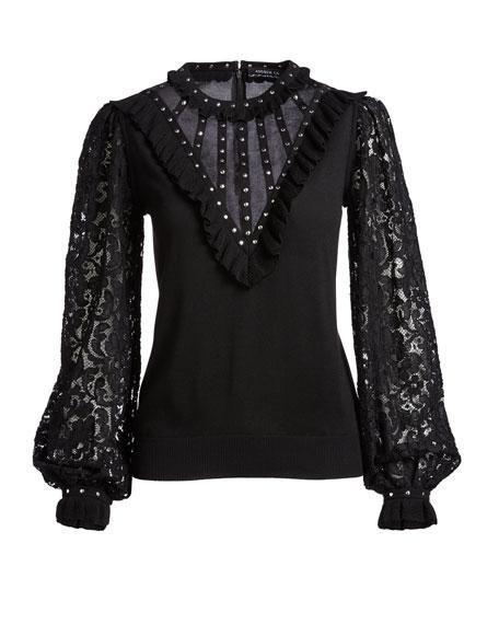 Studded Silk Lace-Sleeve Blouse, Black