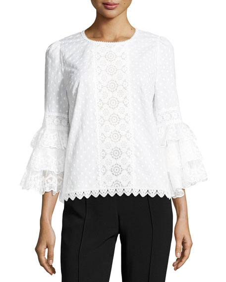 Tiered Ruffle-Sleeve Voile Blouse, White