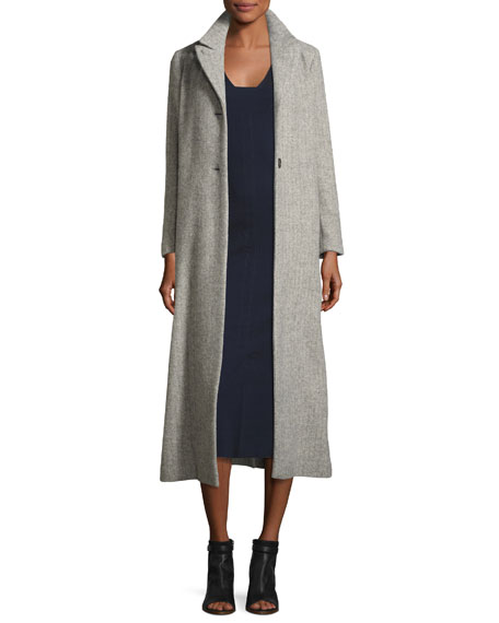 Long Wool-Blend Top Coat, Gray