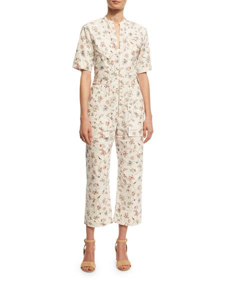 Floral-Print Cotton Cargo Jumpsuit, Ecru