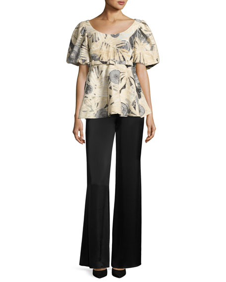 Belted Puff-Sleeve Brocade Top, Black/White