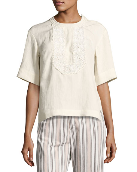 Embroidered Linen Half-Sleeve Top, White