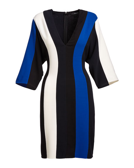 Batwing-Sleeve Colorblock V-Neck Dress, Blue/Multi