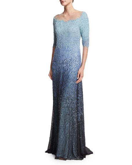 Pamella Roland 3/4-Sleeve Embellished Degrade Gown, Blue