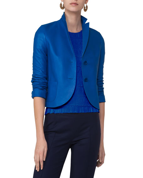 Akris punto Perforated Leather Two-Button Blazer, Blue