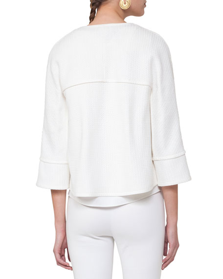 Oversized Cotton-Blend Tweed Jacket, Beige