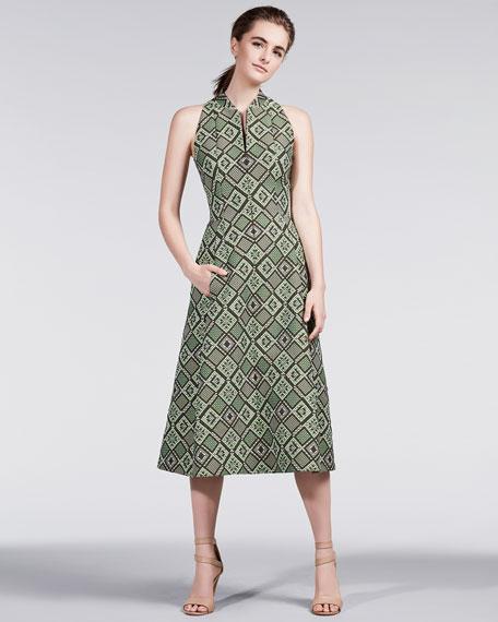 Sleeveless Geometric Jacquard Zip-Front Dress