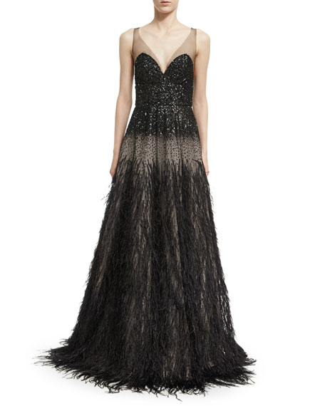 Monique Lhuillier Sequined V-Neck Gown with Ostrich Skirt