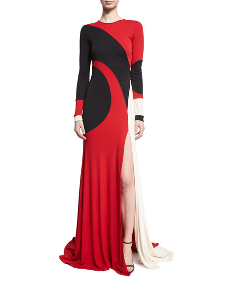 Naeem Khan Colorblock Long-Sleeve Gown, Red/Black/White