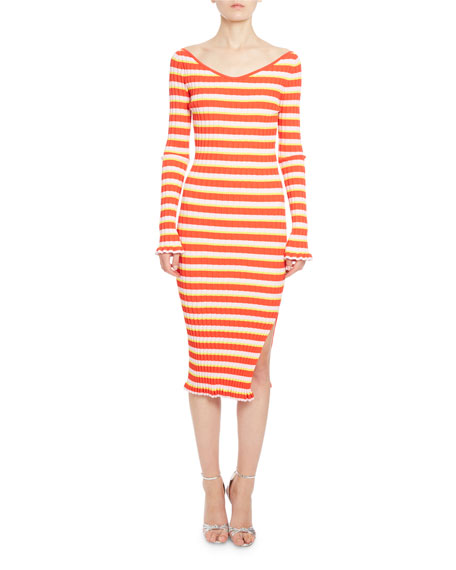 Socorro Striped Knit 3/4-Sleeve Midi Dress