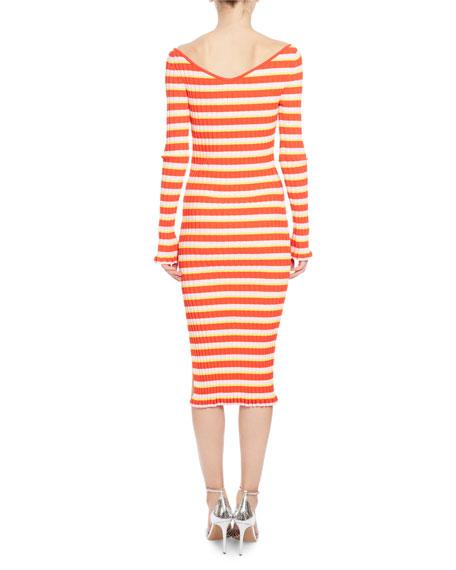 Socorro Striped Knit 3/4-Sleeve Midi Dress