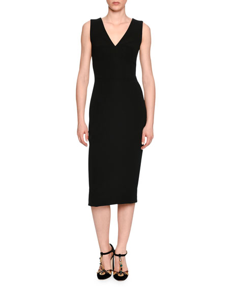 Classic Sleeveless V-Neck Sheath Dress, Black