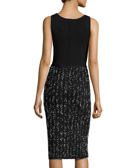 Speckled Tweed Sleeveless V-Neck Dress