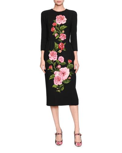 Dolce & Gabbana Silks ROSE-PRINT CADY MIDI DRESS, BLACK/PINK