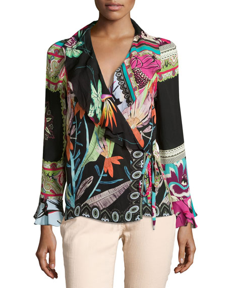 Tropical-Print Ruffled Wrap Top, Black