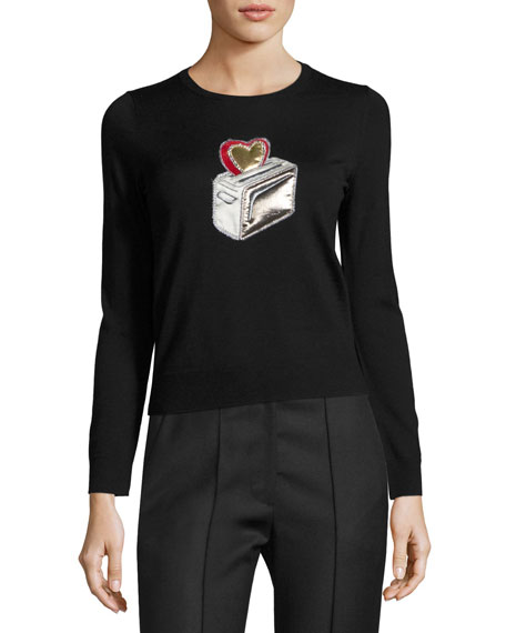 Marc Jacobs Heart Toaster Appliqué Crewneck Sweater, Black