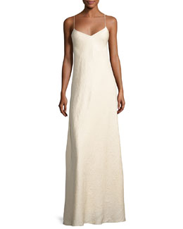 Vera Cloqué V-Neck Gown, Neutral