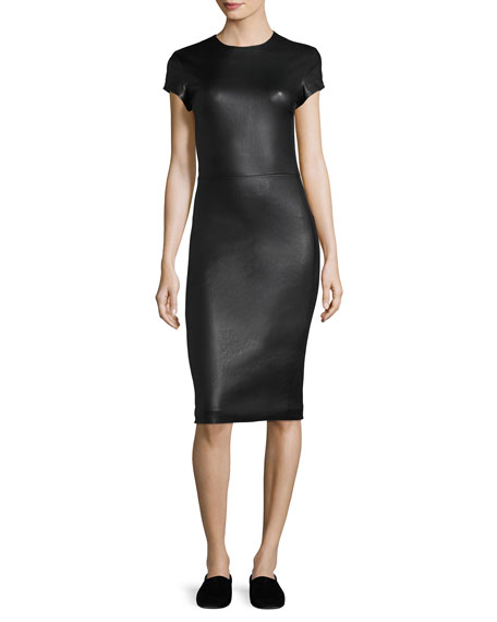 Bocilla Leather Sheath Dress, Black
