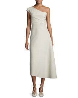 Linus One-Shoulder Midi Dress, Oyster