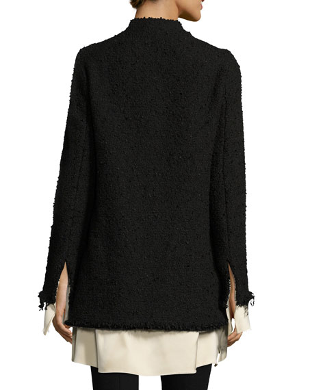 Schrader Contrast-Trim Boucle Jacket, Black/White