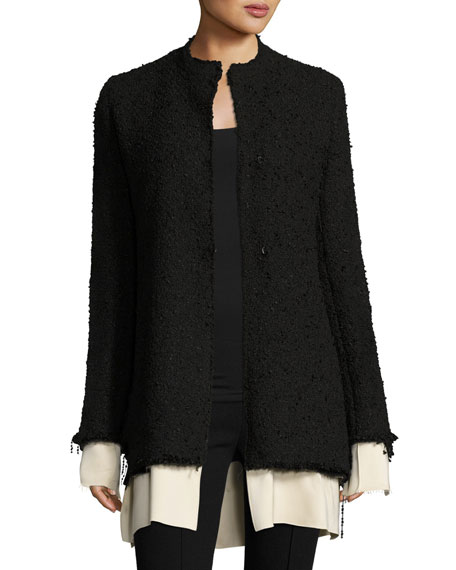 Schrader Contrast-Trim Boucle Jacket, Black/White