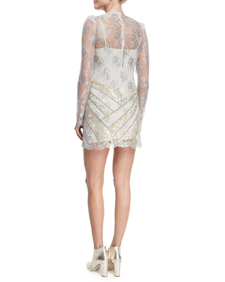 Vacuum-Embroidered Lace Cocktail Dress, White