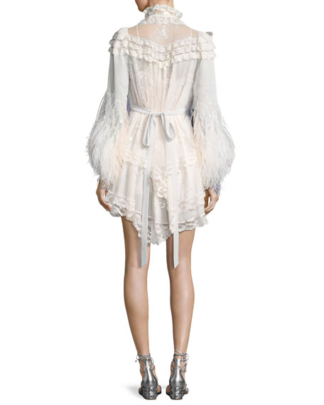 Feather-Embellished Lace Mini Dress, Ivory
