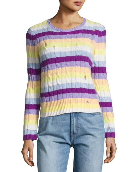 Marc Jacobs Striped Cashmere Cable Crewneck Sweater,