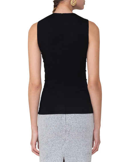 Ruched Sleeveless Top, Black