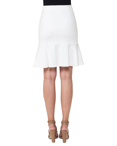 Fluted Jersey Fit-and-Flare Skirt, Cream