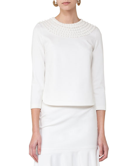 Dot-Embroidered Bracelet-Sleeve Top, Cream
