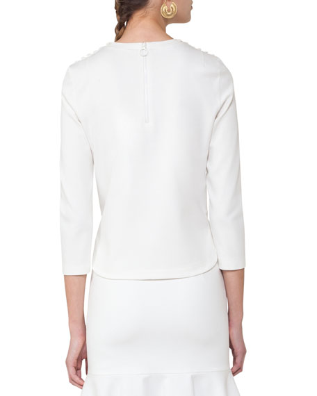 Dot-Embroidered Bracelet-Sleeve Top, Cream